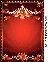 diversión, cartel, circo, rojo