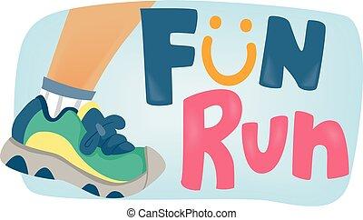 diversión, cartel, niños, corra