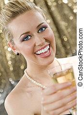 diversión, champaña