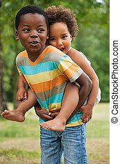 diversión, childs, teniendo, africano