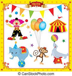 diversión, circo, conjunto