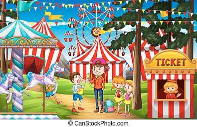 diversión, circo, teniendo, gente