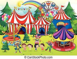 diversión, circo, teniendo, niños