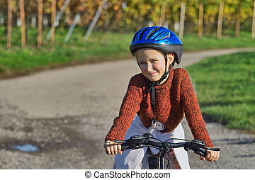 diversión, con, bicicleta