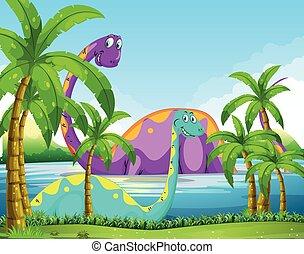 diversión, dinosaurio, lago, teniendo