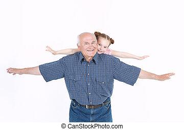 diversión, el suyo, teniendo, nieta, aduelo