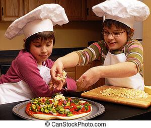 diversión, elaboración, pizza
