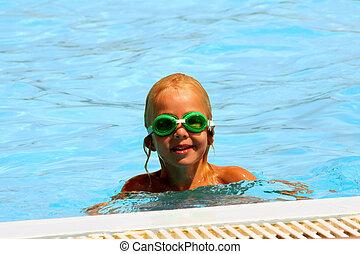 diversión, en, el, piscina
