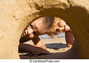 diversión, en la arena