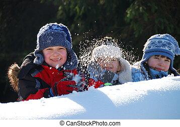 diversión, en, nieve