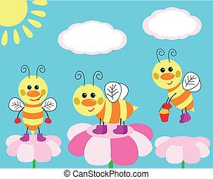 diversión, lindo, abejas, tarjeta