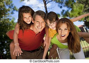 diversión, moderno, parque, teniendo, familia