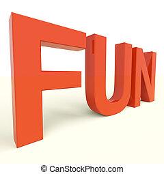 diversión, palabra, en, plástico, cartas, para, disfrute, y,...