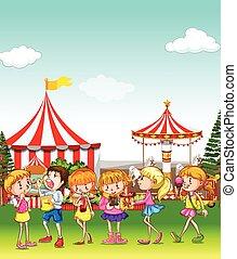 diversión, parque, teniendo, diversión, niños
