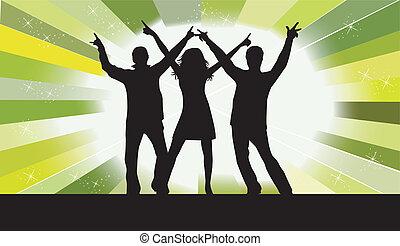 diversión, peopl, -, teniendo, bailando