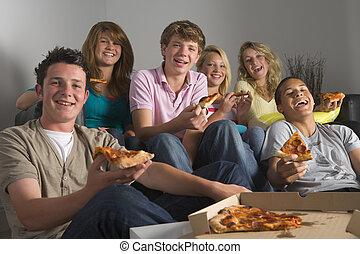 diversión, pizza, comida, adolescentes, teniendo