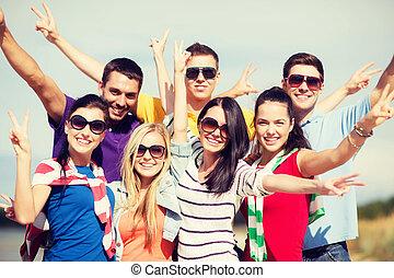 diversión, playa, amigos, grupo, teniendo