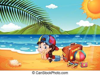 diversión, poco, playa, teniendo, niña