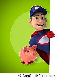 diversión, superhero, -, ilustración, 3d