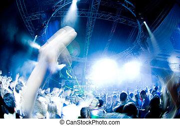 diversión, teniendo, concierto, gente