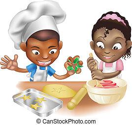 diversión, teniendo, dos, cocina, niños