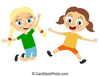 diversión, teniendo, feliz, niños