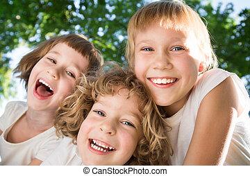 diversión, teniendo, niños, aire libre