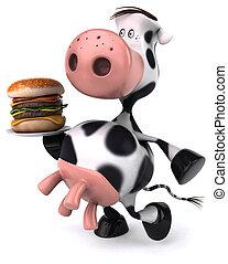diversión, vaca