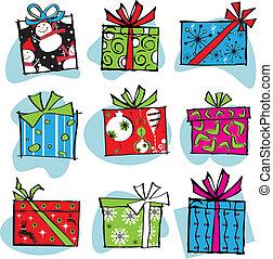 diversión, y, miedoso, retro, navidad, cajas
