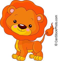 diversión, zoo., león