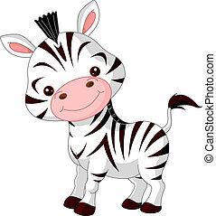 diversión, zoo., zebra