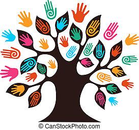diversidad, árbol, aislado, manos