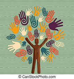 diversidad, árbol, manos humanas
