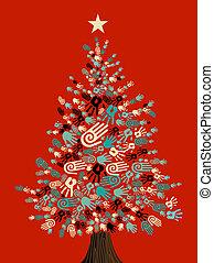 diversidad, árbol, navidad, manos