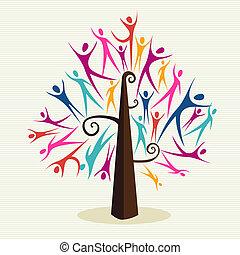 diversidad, conjunto, árbol, humano