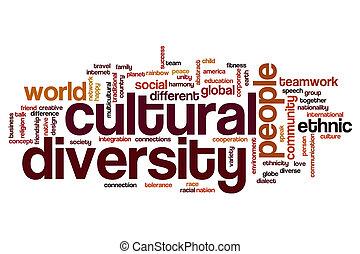 diversidad, cultural, palabra, nube