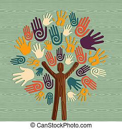 diversidad, humano, árbol, manos