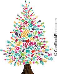 diversidad, manos, árbol, navidad, aislado