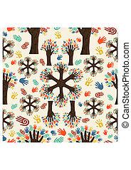 diversidad, manos, árbol, patrón