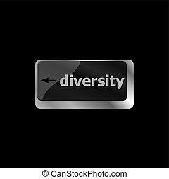 diversidad, palabra, empresa / negocio, entrar, concept., seleccionado, foco, computadora, plano de fondo, teclado, botón