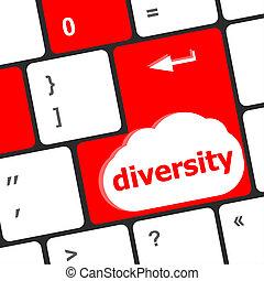 diversidad, palabra, empresa / negocio, teclado, botón, seleccionado, foco, interpretación, plano de fondo, entrar, computadora, concept:, 3d
