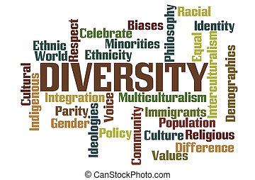 diversidad, palabra, nube