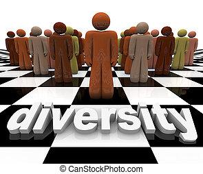 diversidad, -, palabra, y, gente, en, tablero de ajedrez