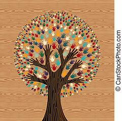 diversidad, patrón, encima, árbol, madera, manos