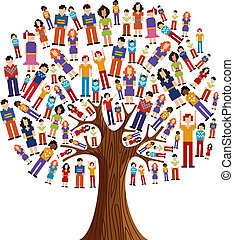diversidad, pixel, humano, árbol