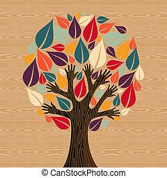 diversidad, resumen, árbol, manos