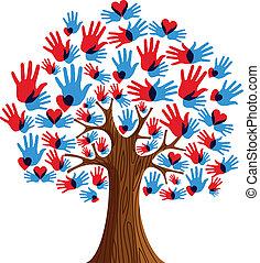 diversidade, árvore, isolado, mãos