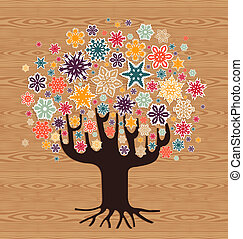 diversidade, árvore, natal, fundo, inverno