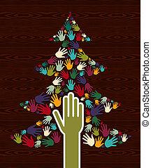 diversidade, árvore, natal, mãos