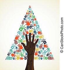 diversidade, árvore, natal, pinho, mãos